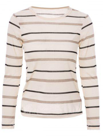 Chic Fashionable Scoop Neck Long Sleeve Striped T-Shirt For Women LIGHT YELLOW M