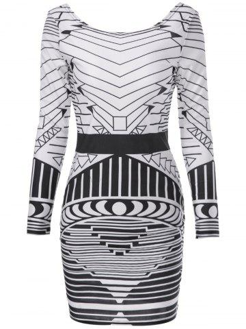 Sexy Scoop Neck Long Sleeve Geometric Bodycon Backless Women's Dress