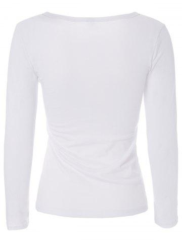 Outfits Stylish Jewel Neck Long Sleeve Color Block T-Shirt For Women - S WHITE Mobile