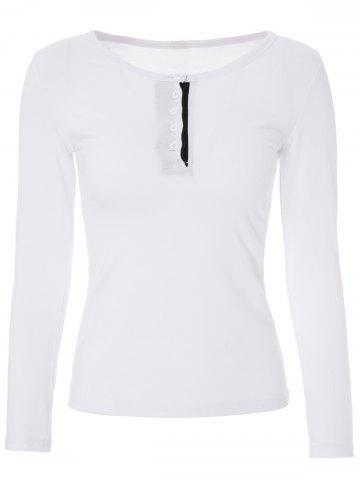 New Stylish Jewel Neck Long Sleeve Color Block T-Shirt For Women WHITE XL