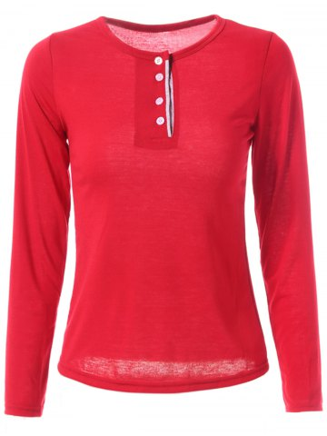 Discount Stylish Jewel Neck Long Sleeve Color Block T-Shirt For Women WINE RED XL