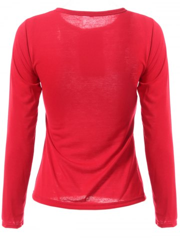 Outfits Stylish Jewel Neck Long Sleeve Color Block T-Shirt For Women - XL WINE RED Mobile