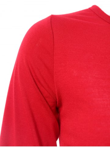 Store Stylish Jewel Neck Long Sleeve Color Block T-Shirt For Women - 2XL WINE RED Mobile