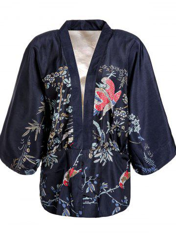 Latest Retro Collarless Floral Print Batwing Sleeve Kimono Blouse For Women