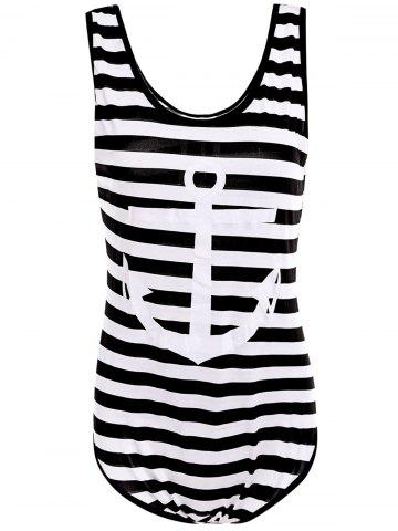 Fashion Scoop Neck Sleeveless Striped Printed One-Piece Women's Swimwear