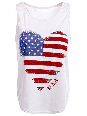 Online Trendy Scoop Neck Sleeveless American Flag Pattern Tank Top For Women