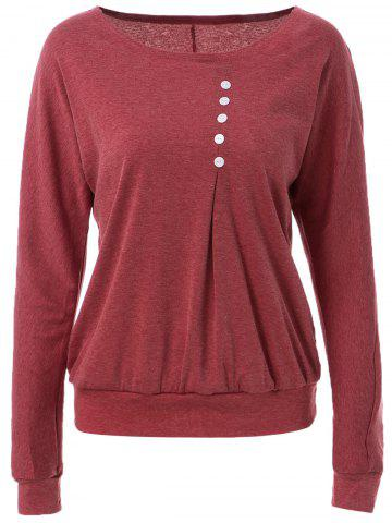 Cheap Casual Style Scoop Neck Long Batwing Sleeve Solid Color Loose-Fitting Women's T-Shirt RED L