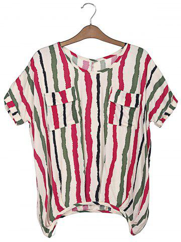 Discount Sweet Scoop Neck Colorful Vertical Stripe Batwing Sleeve Women's T-Shirt