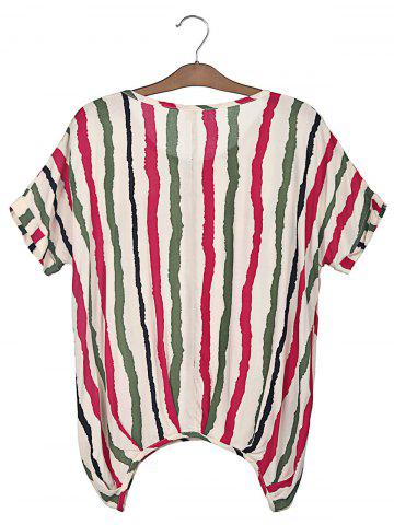 Hot Sweet Scoop Neck Colorful Vertical Stripe Batwing Sleeve Women's T-Shirt - XL PLUM Mobile