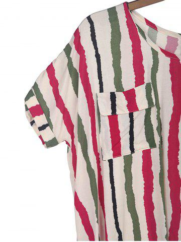 Fashion Sweet Scoop Neck Colorful Vertical Stripe Batwing Sleeve Women's T-Shirt - XL PLUM Mobile