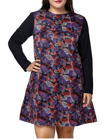 Hot Plus Size Long Sleeve Flower Print A Line Dress