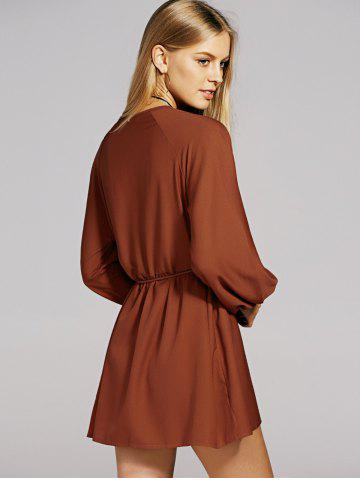 Affordable Bohemian Long Sleeve Casual Tunic Dress - XL BROWN Mobile