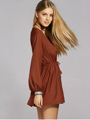 Affordable Bohemian Long Sleeve Casual Tunic Dress - L BROWN Mobile