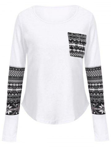 Fancy Brief Scoop Collar Long Sleeve Printed One Pocket Design Women's T-Shirt WHITE S