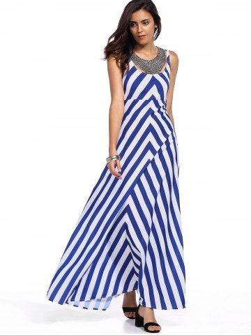 Hot Sleeveless Zig Zag Empire Waist Maxi Tank Dress STRIPE L