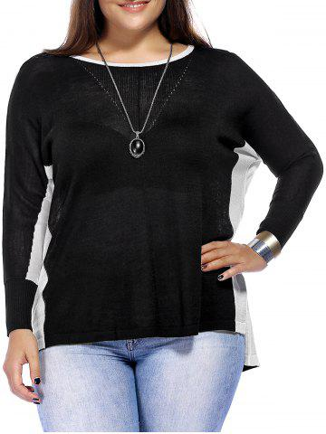 Outfit Chic Plus Size Color Block High-Low Hem Knitted Women's Blouse