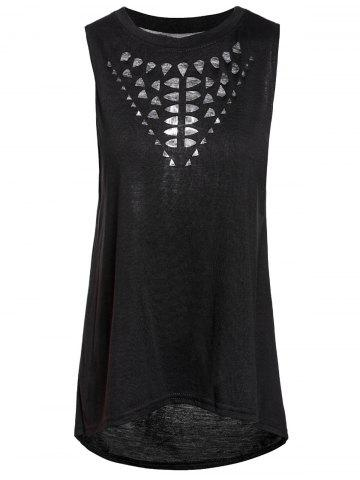 Best Stylish Round Collar Hollow Out High-Low Hem Tank Top For Women BLACK XL