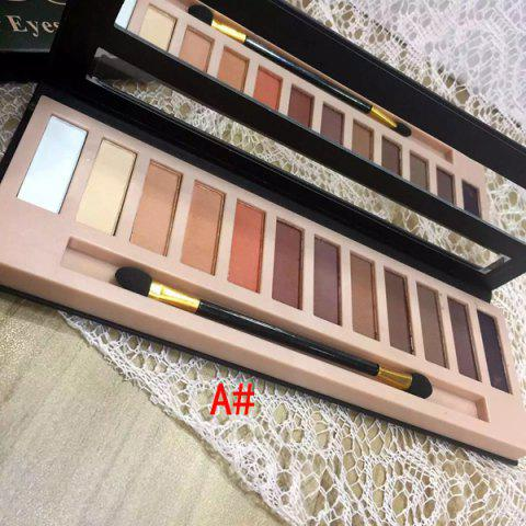 Chic Stylish 12 Colours Earth Tone Shimmer Matte Eye Shadow Palette with Mirror and Brush