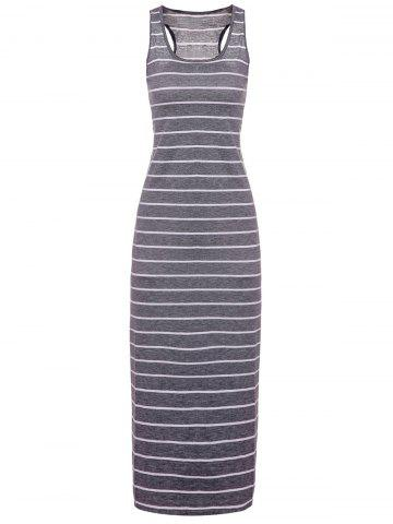 Fancy Striped Maxi Casual Dress Long