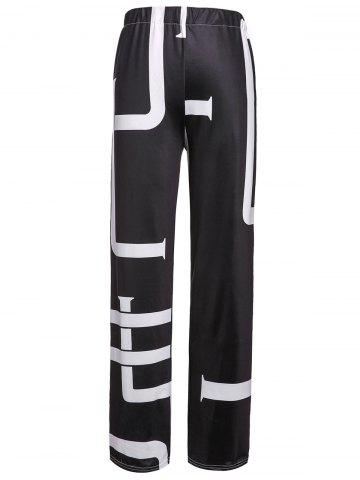 Fancy Fashionable Mid-Waisted Printed Loose-Fitting Women's Pants WHITE/BLACK L