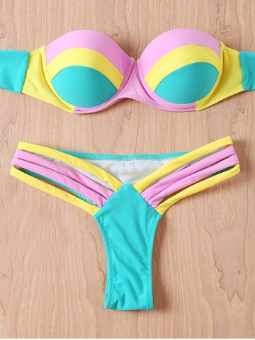 Fancy Color Block Strapless Push Up Bandeau Bikini Set TIFFANY BLUE XL