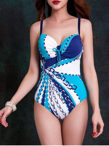 Unique Fashionable Strappy Cut Out Striped One-Piece Swimsuit For Women BLUE 2XL