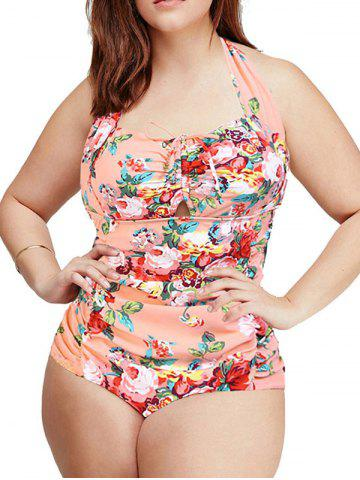 New Fashionable Plus Size Sweetheart Neck Floral One-Piece Swimsuit For Women