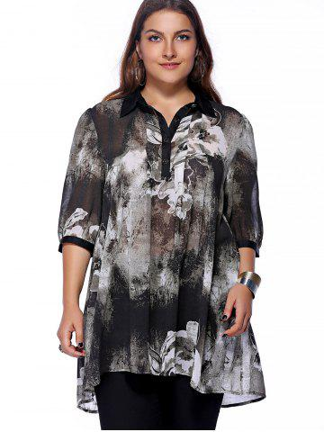 Latest Plus Size Brief Ink Painting Buttoned Blouse - 3XL BLACK Mobile