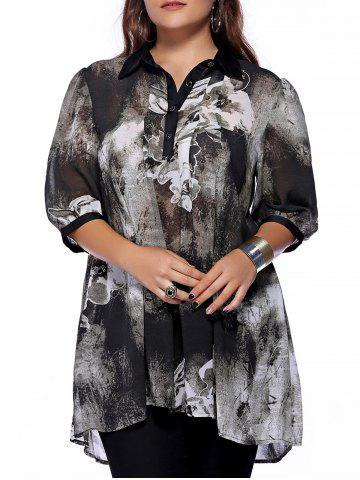 Best Plus Size Brief Ink Painting Buttoned Blouse - 3XL BLACK Mobile