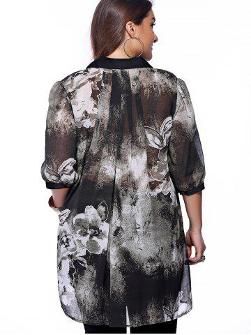 Buy Plus Size Brief Ink Painting Buttoned Blouse - XL BLACK Mobile