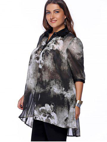 Store Plus Size Brief Ink Painting Buttoned Blouse - XL BLACK Mobile