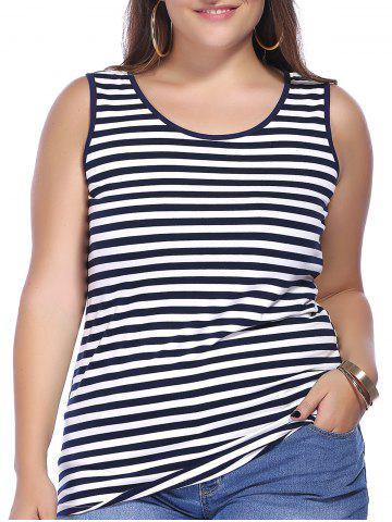 Hot Chic Plus Size Scoop Neck Striped Women's Tank Top