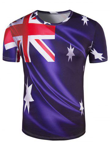 Best Slim Fit Round Collar Australian Flag Printing T-Shirt For Men DEEP PURPLE 2XL
