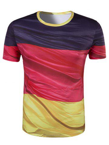 Fashion Slim Fit Round Collar Color Block Printing T-Shirt For Men COLORMIX L
