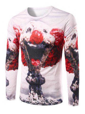 Chic Slim Fit Round Collar Mushroom Cloud Printing T-Shirt For Men
