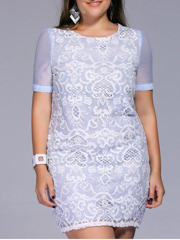 Best Sweet Plus Size Embroidered Lace Patchwork Women's Dress