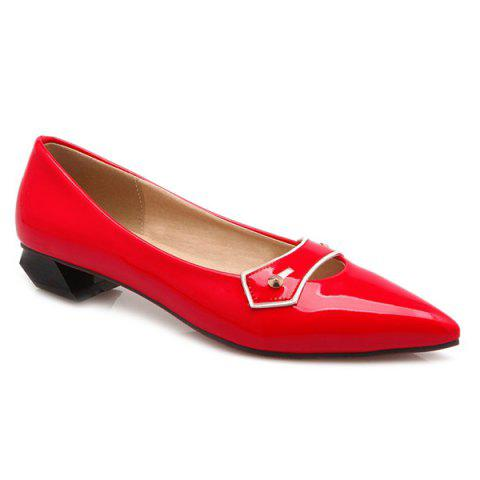 Store Elegant Pointed Toe and Solid Color Design Flat Shoes For Women - 38 RED Mobile
