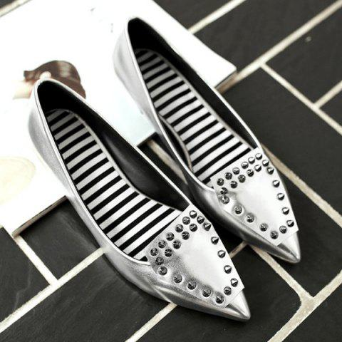 Outfit Stylish Rivets and Pointed Toe Design Flat Shoes For Women - SILVER 37 Mobile