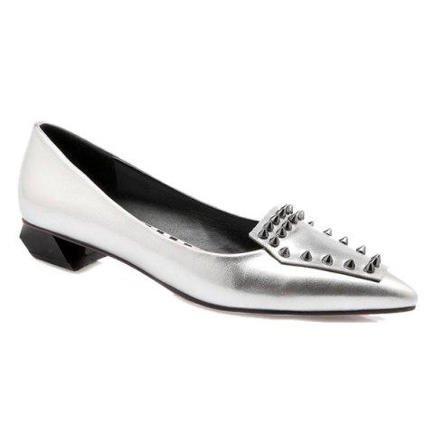 Trendy Stylish Rivets and Pointed Toe Design Flat Shoes For Women - SILVER 37 Mobile