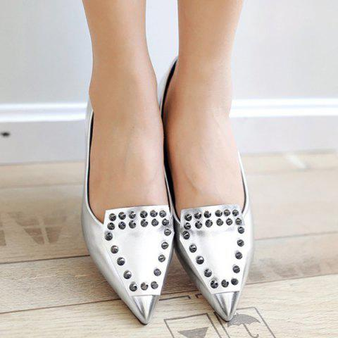 Buy Stylish Rivets and Pointed Toe Design Flat Shoes For Women - SILVER 37 Mobile