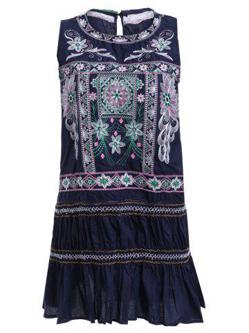 Sale Ethnic Style Sleeveless Embroidered Mini Dress