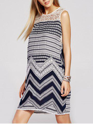 Affordable Refreshing Lace Spliced Geometric Print Sleeveless Dress For Women