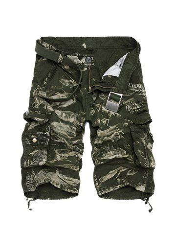 Fashion Zipper Fly Camouflage Cotton Blends Multi-Pockets Straight Leg Cargo Shorts For Men GREEN 36