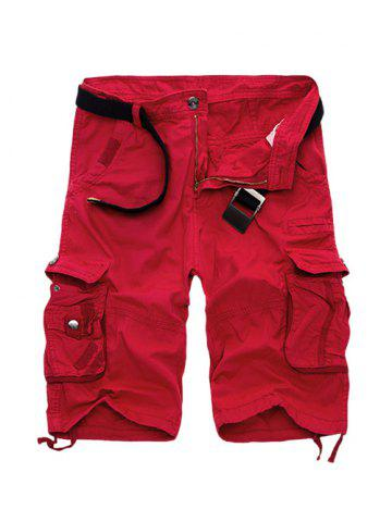 Discount Zipper Fly Cotton Blends Multi-Pockets Straight Leg Cargo Shorts For Men RED 40