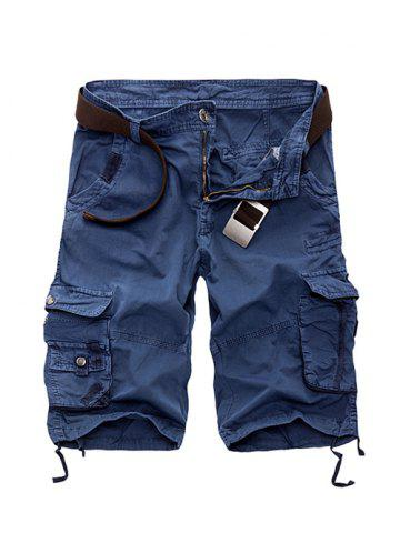 Affordable Zipper Fly Cotton Blends Multi-Pockets Straight Leg Cargo Shorts For Men SAPPHIRE BLUE 29