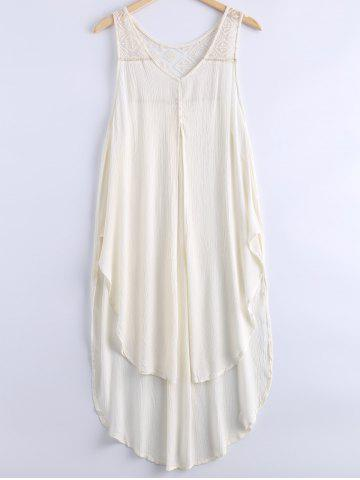 New Simple Scoop Neck Lace Openwork Sleeveless Dress For Women