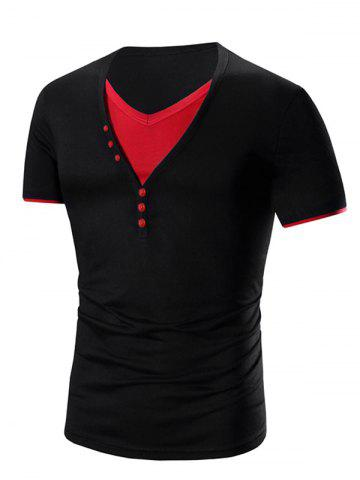 Cheap V Neck Faux Twinset Short Sleeve T-Shirt For Men BLACK AND ROSE RED 2XL