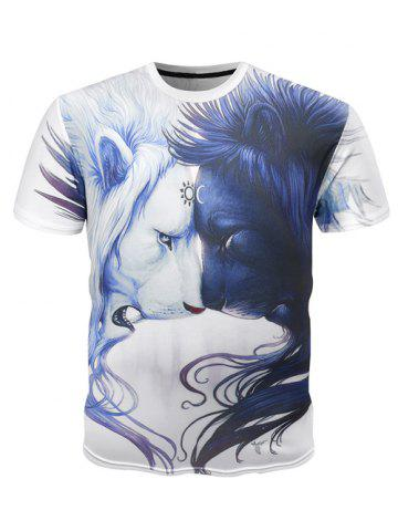 Shop Round Neck 3D Symmetrical Lions Print Short Sleeve T-Shirt For Men