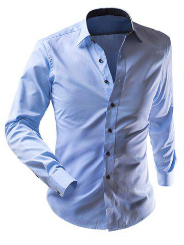 Online Slimming Solid Color Turn-Down Collar Long Sleeve Shirt For Men BLUE 2XL