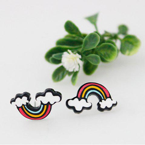 Unique Pair of Sweet Rainbow Earrings For Women - WHITE  Mobile